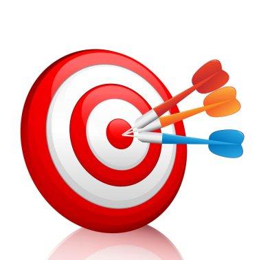 Vector colorful darts hitting a target