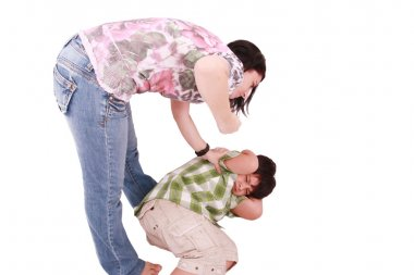 Woman hitting a son who cringes, isolated on white background