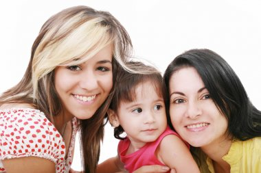 Happy portrait of beautiful young mother with two daughter looki