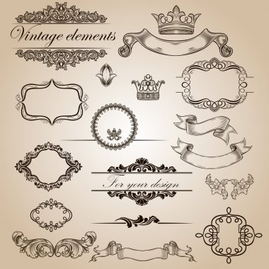 Set of vintage elements for your design