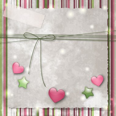 Scrapbooking background with glossy stars and hearts clip art vector