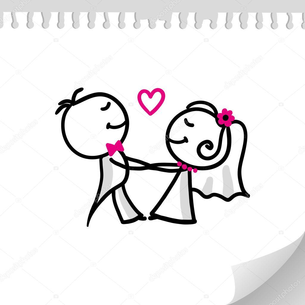 Wedding Cartoon Couple Cartoon Wedding Couple Stock Vector C Redcollegiya 6763983