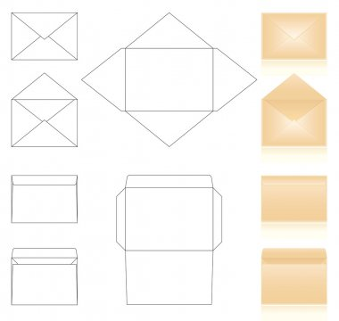 Templates and schemes of envelopes. realistic beige envelopes stock vector