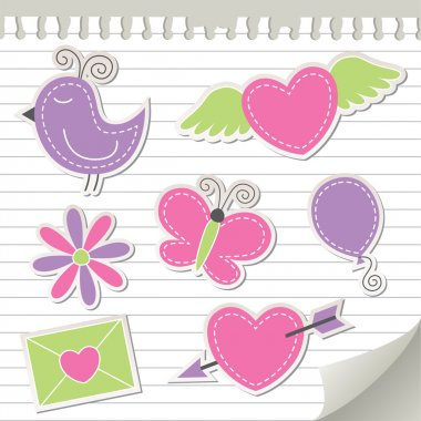 Cute pink stickers set