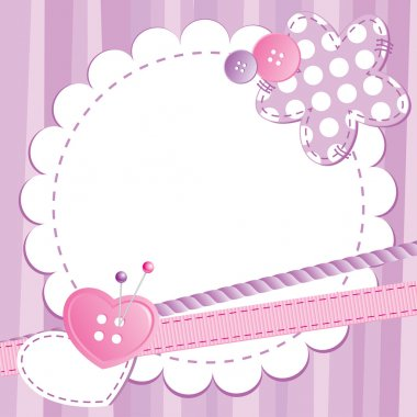 Violet cute frame with buttons and patches clip art vector