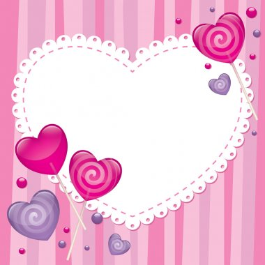 Valentine's day greeting card with lollipops, vector clip art vector