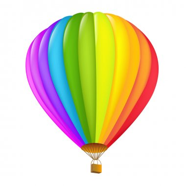 Colorful Hot Air Balloon, Isolated On White Background, Vector Illustration clip art vector