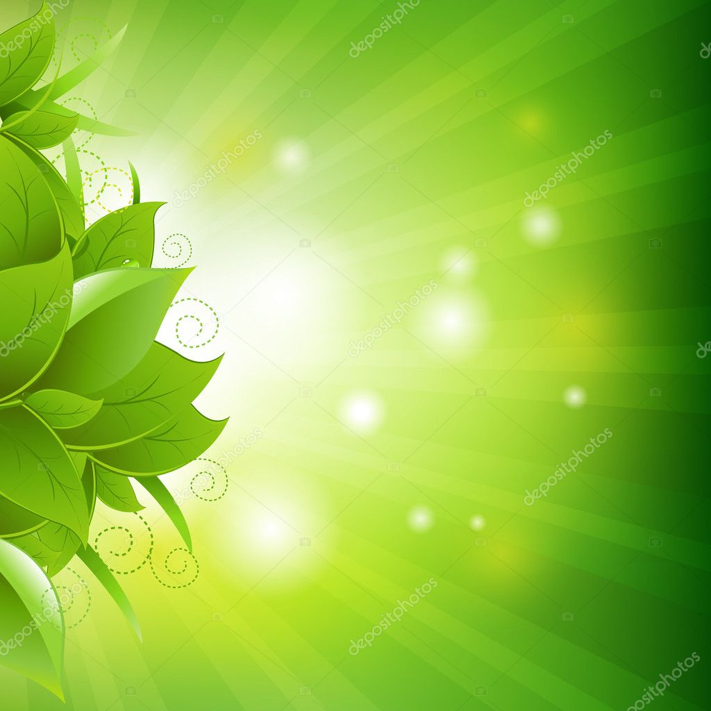 Green Poster With Leaves With Grass