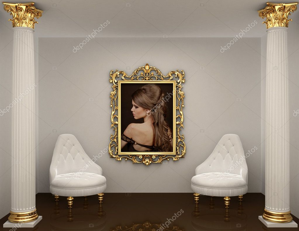 Gold frames with picture of woman on the wall in royal interior