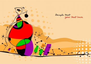 Vector illustration of a girl in style of avant-garde.