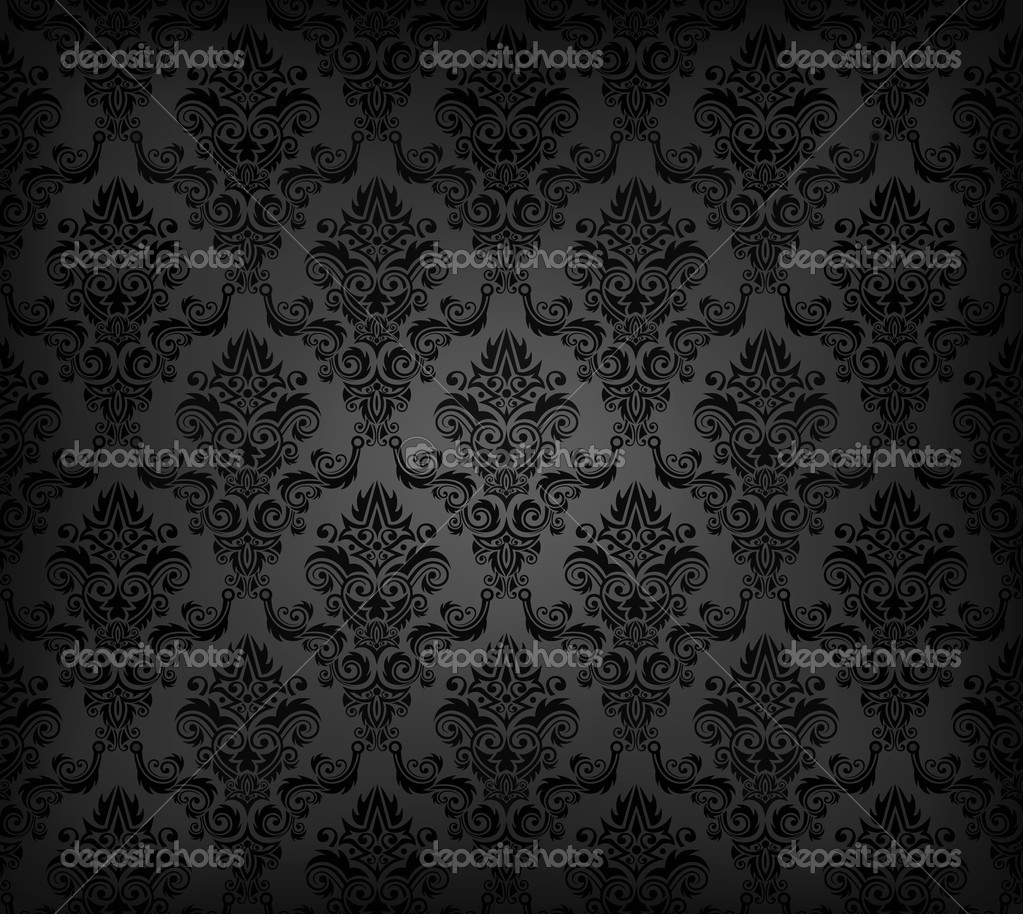 Black Seamless Wallpaper Pattern Stock Vector 169 V