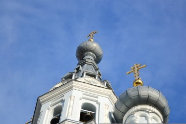 Domes of orthodox cathedral in Kronshtadt
