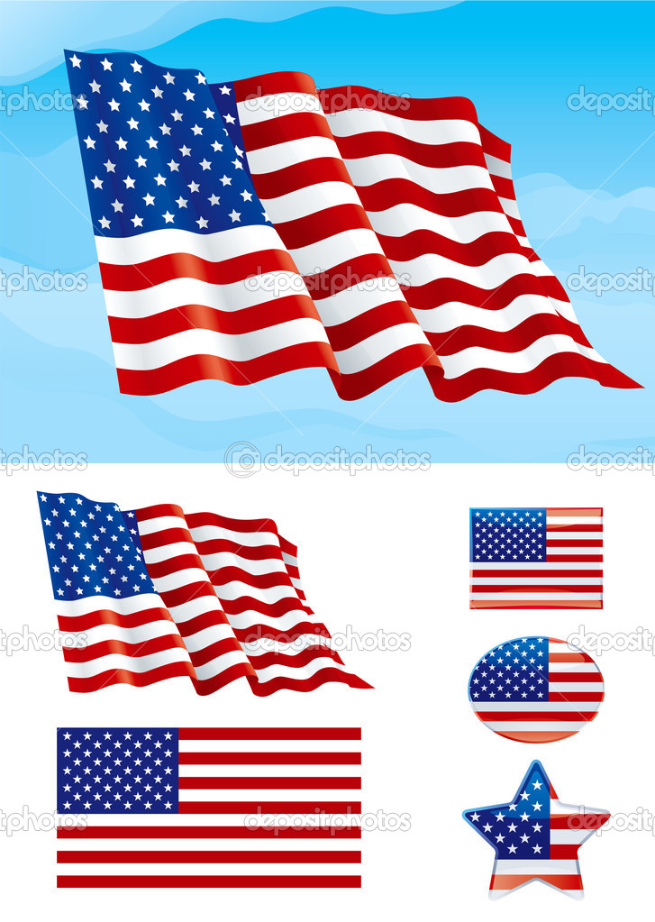 Set of American flag
