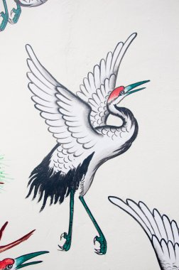 Chinese heron painting on wall in chinese temple