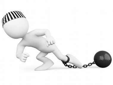 Prisoner dragging a heavy metal ball