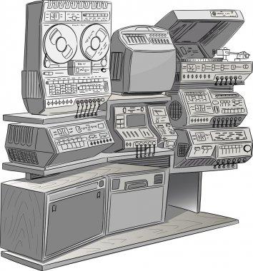 Retro vector tv and music equipment