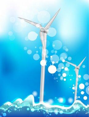 Energy saving concept. Eco windmills