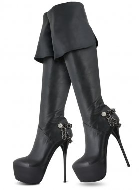Black Leather Female high hill Boots