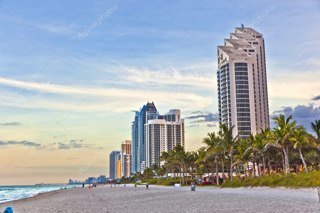 Miami beach with skyscrapers