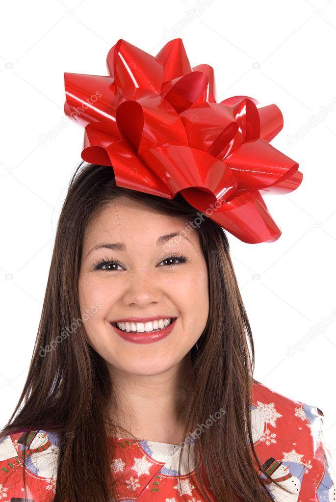 Frau als Weihnachtsgeschenk — Stockfoto © kelpfish #7637242