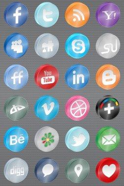 Realistic reflect social media icons