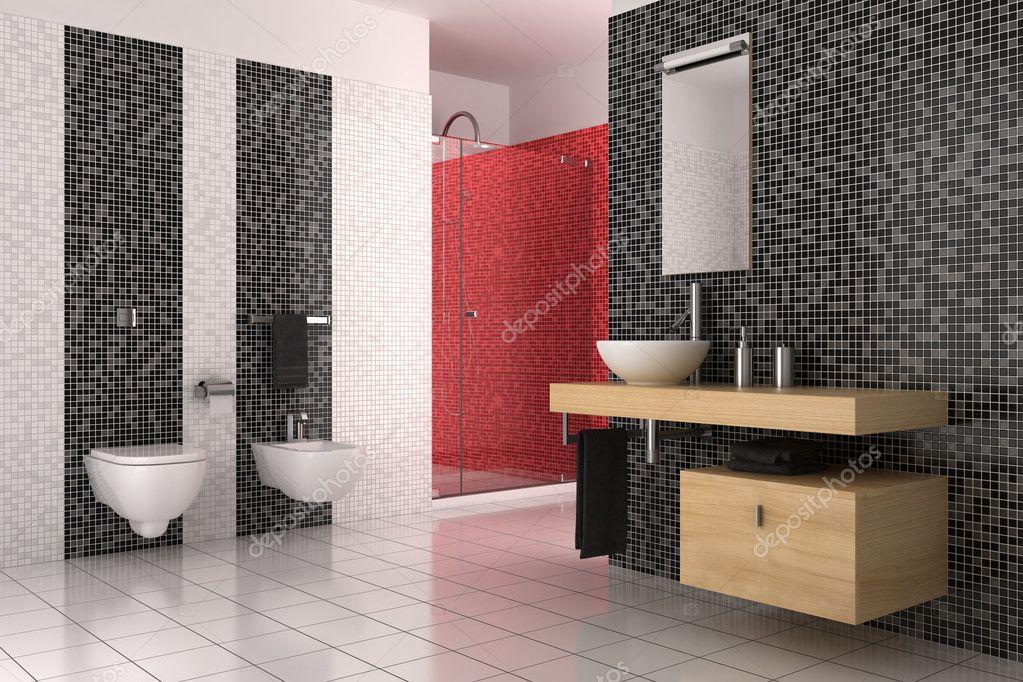moderno cuarto de baño con azulejos de negros, rojos y blancos ...