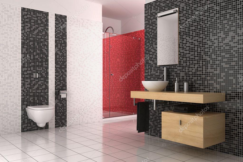 modernes bad mit schwarzen, roten und weißen fliesen — stockfoto, Hause ideen