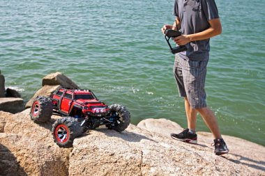 RC toy car on a rock terrain