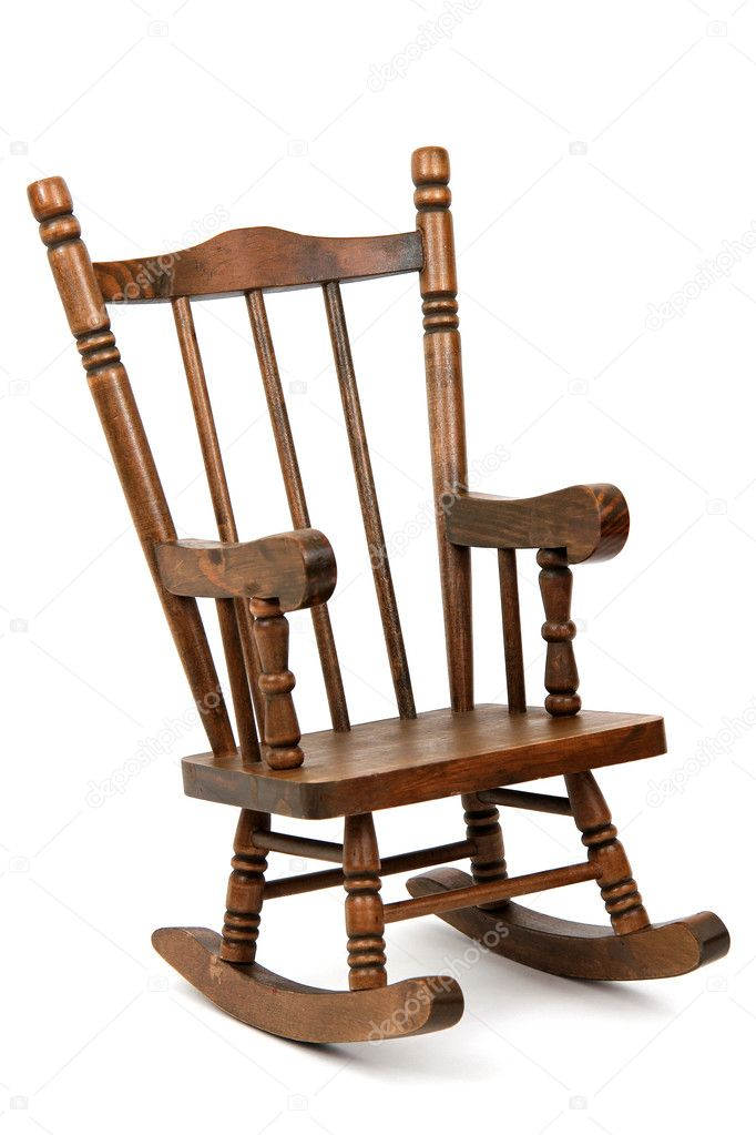 Magnificent Old Wooden Rocking Chair On White Background Stock Photo Machost Co Dining Chair Design Ideas Machostcouk
