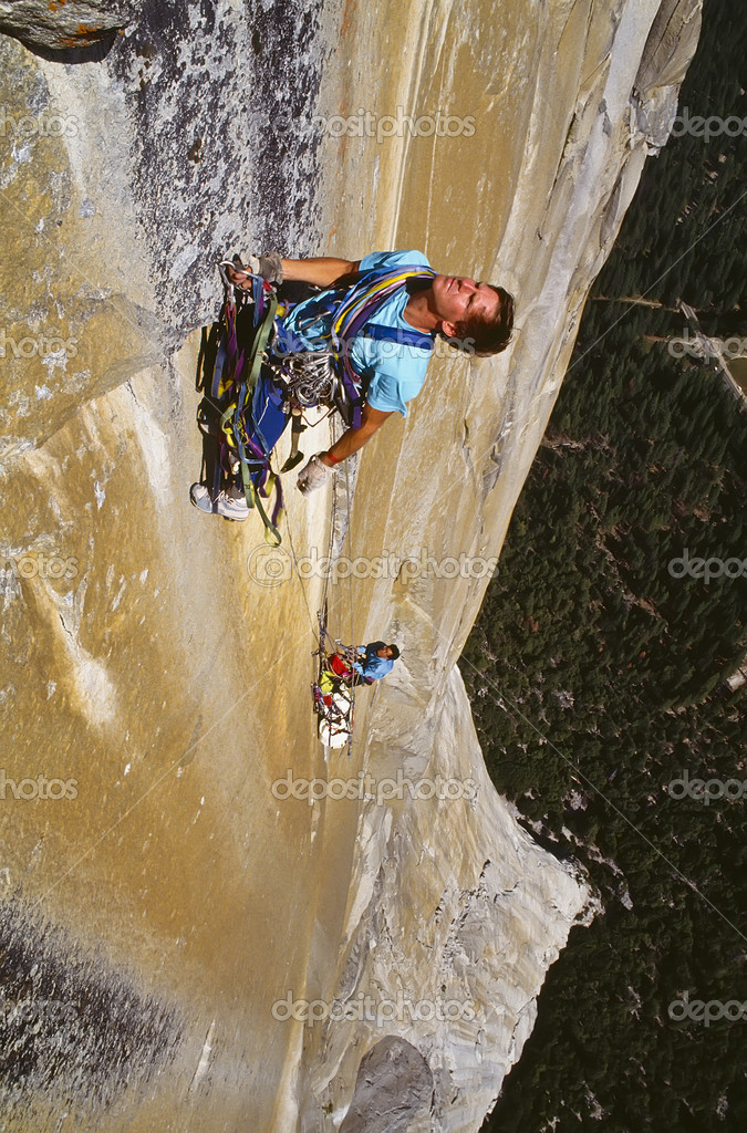 Team of climbers reaching the summit of El Capitan.