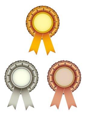 Vector gold silver bronze award ribbons bow