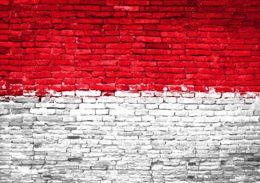 Indonesia flag painted on wall