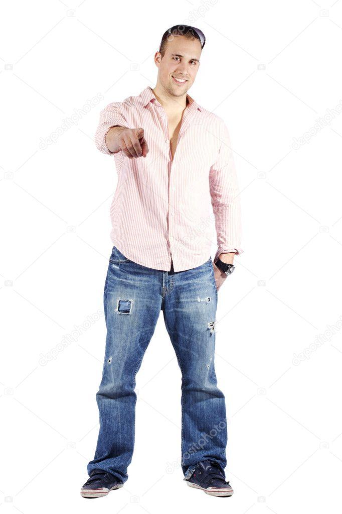 san francisco 9a634 31c21 Giovane uomo vestito in camicia e jeans — Foto Stock ...