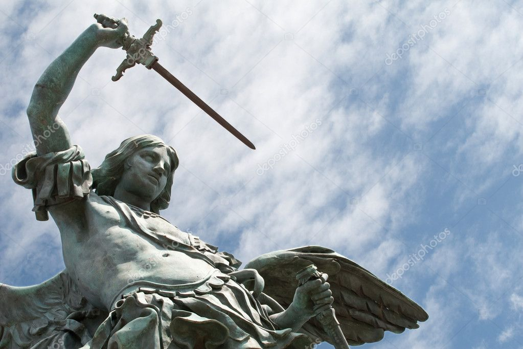 Saint Michael statue on the top of Castel Sant`Angelo