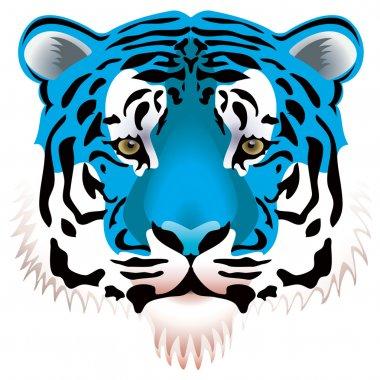 Vector illustration of blue tiger head stock vector