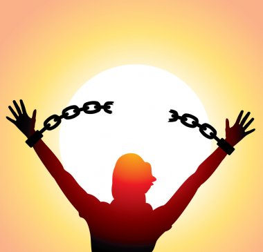 Vector silhouette of a girl with raised hands and broken chains stock vector