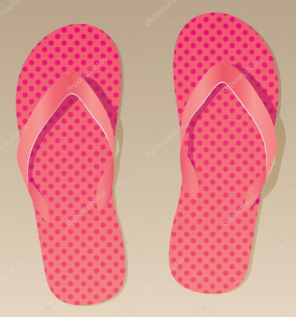 infradito di colore rosa sulla sabbia — Vettoriali Stock © dmstudio ... 454c3d62f53