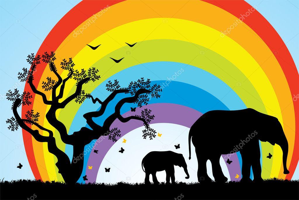 Tree, elephants and rainbow
