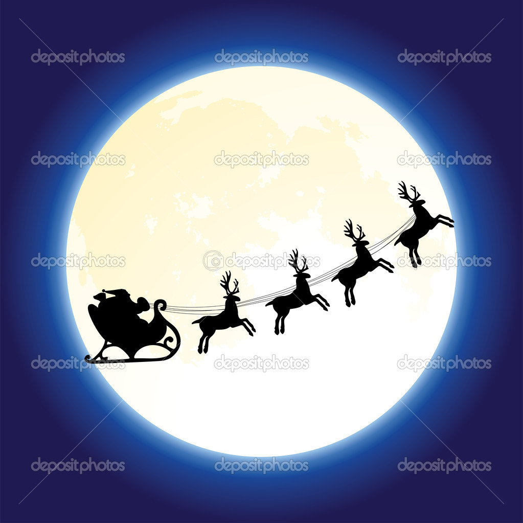 Vector santa claus and deers flying in front of the moon