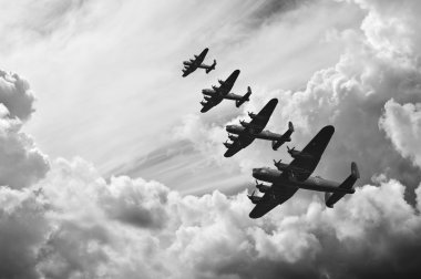 Black and white retro image of Batttle of Britain WW2 airplanes
