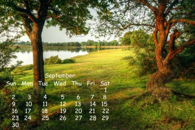 English landscape 2012 calendar page September