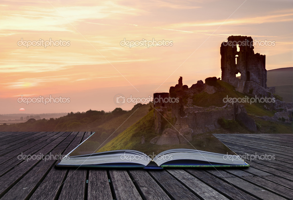 Creative concept image of romantic fairytale castle coming out o