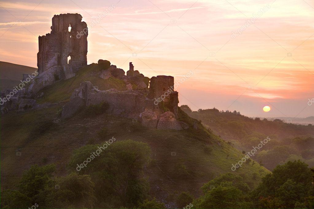 Romantic fantasy magical castle ruins against stunning sky