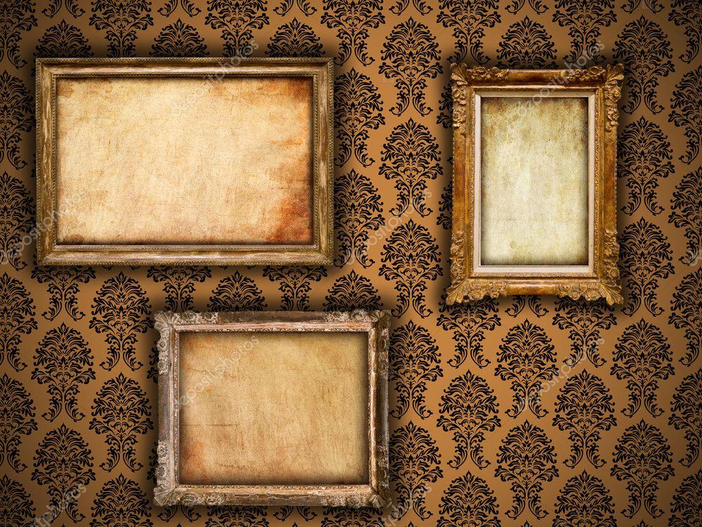 Gilded Vintage Frames On Damask Wallpaper Background With Grunge