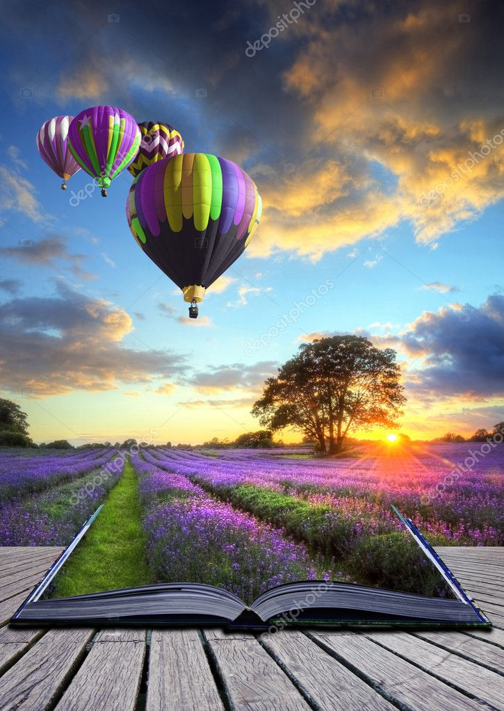 Hot air balloons lavender landscape magic book pages