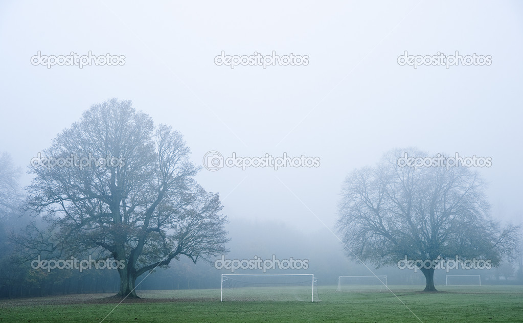 Football soccer pitch on foggy misty morning in Autumn Fall