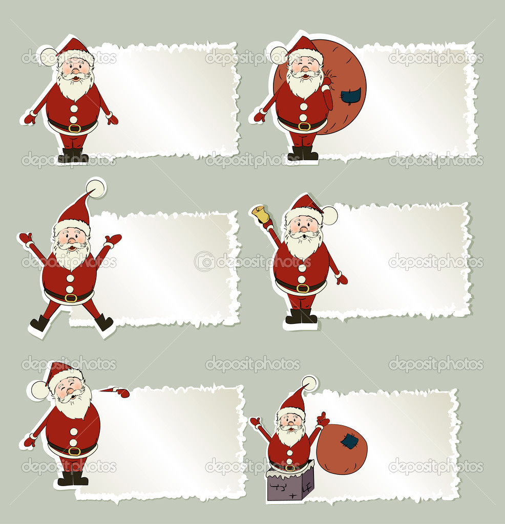 set of christmas label santa claus stock vector lindwa 7141656