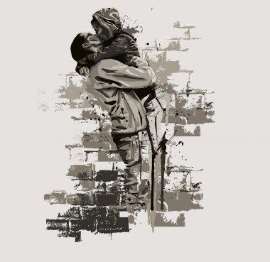 Kissing couple clip art vector