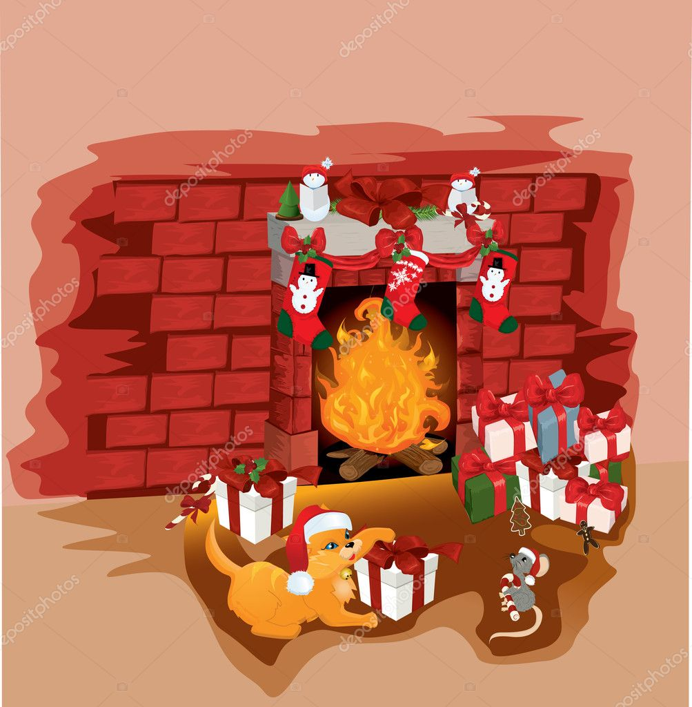 christmas fireplace with cat and mouse vector illustration backg