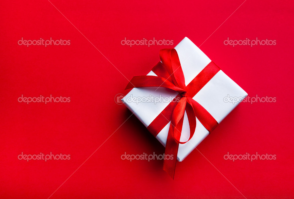 Small gift with red ribbon